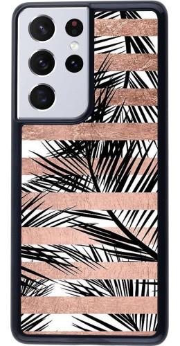 Coque Samsung Galaxy S21 Ultra 5G - Palm trees gold stripes
