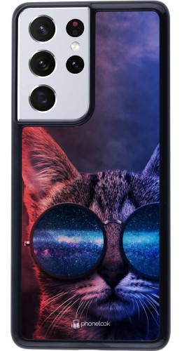 Coque Samsung Galaxy S21 Ultra 5G - Red Blue Cat Glasses