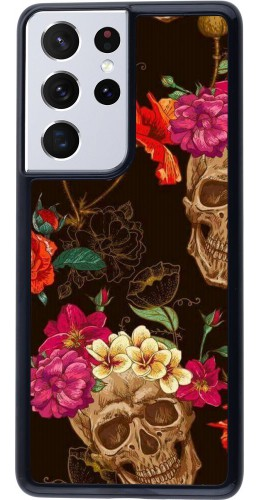 Coque Samsung Galaxy S21 Ultra 5G - Skulls and flowers