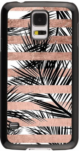 Coque Galaxy S5 - Palm trees gold stripes