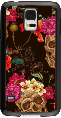 Coque Samsung Galaxy S5 - Skulls and flowers