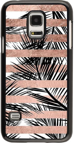 Coque Galaxy S5 Mini - Palm trees gold stripes