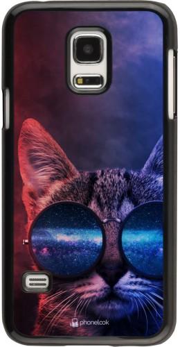 Coque Samsung Galaxy S5 Mini - Red Blue Cat Glasses