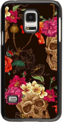 Coque Samsung Galaxy S5 Mini - Skulls and flowers