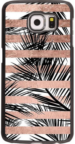 Coque Galaxy S6 - Palm trees gold stripes