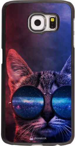 Coque Samsung Galaxy S6 - Red Blue Cat Glasses