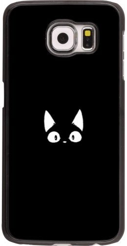 Coque Samsung Galaxy S6 edge - Funny cat on black