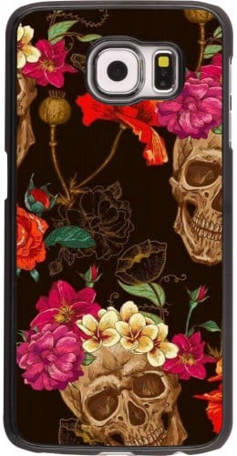 Coque Samsung Galaxy S6 edge - Skulls and flowers