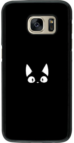 Coque Samsung Galaxy S7 - Funny cat on black