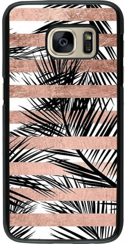 Coque Galaxy S7 - Palm trees gold stripes