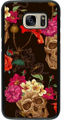 Coque Samsung Galaxy S7 - Skulls and flowers