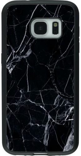 Coque Galaxy S7 - Silicone rigide noir Marble Black 01