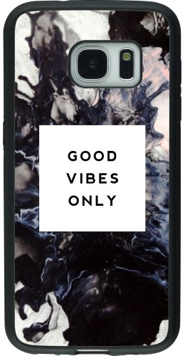 Coque Galaxy S7 - Silicone rigide noir Marble Good Vibes Only