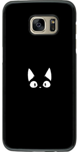 Coque Samsung Galaxy S7 edge - Funny cat on black