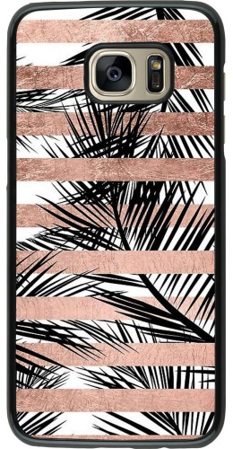 Coque Galaxy S7 edge - Palm trees gold stripes