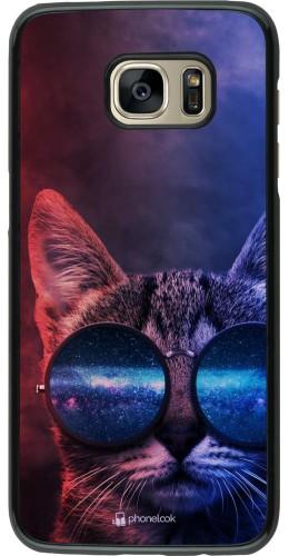 Coque Samsung Galaxy S7 edge - Red Blue Cat Glasses