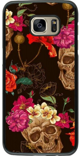Coque Samsung Galaxy S7 edge - Skulls and flowers