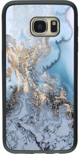 Coque Galaxy S7 edge - Silicone rigide noir Marble 04