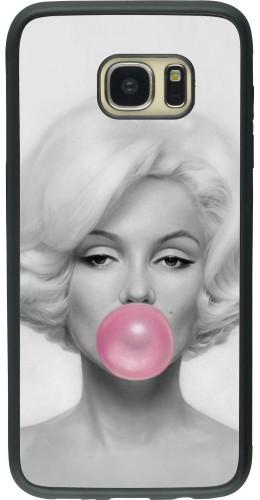 Coque Galaxy S7 edge - Silicone rigide noir Marilyn Bubble