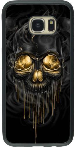 Coque Galaxy S7 edge - Silicone rigide noir Skull 02