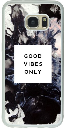 Coque Galaxy S7 edge - Silicone rigide transparent Marble Good Vibes Only
