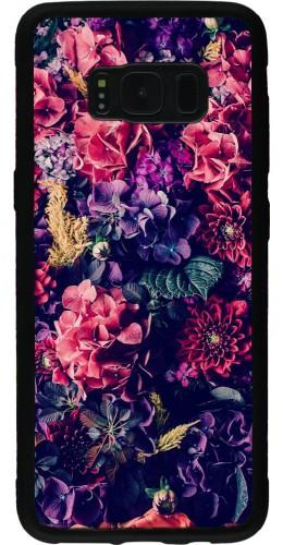 Coque Galaxy S8 - Silicone rigide noir Flowers Dark