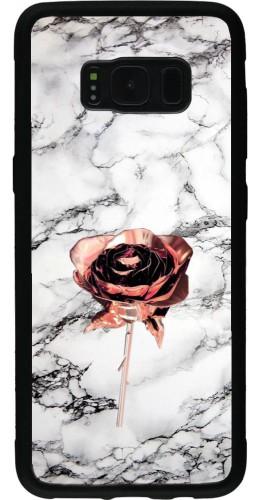 Coque Samsung Galaxy S8 - Silicone rigide noir Marble Rose Gold