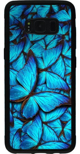 Coque Galaxy S8 - Silicone rigide noir Papillon bleu