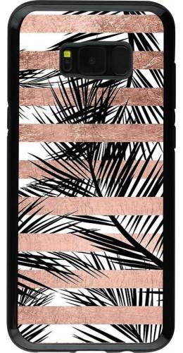 Coque Galaxy S8+ - Hybrid Armor noir Palm trees gold stripes