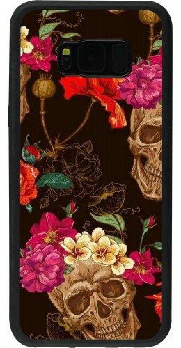 Coque Samsung Galaxy S8+ - Silicone rigide noir Skulls and flowers