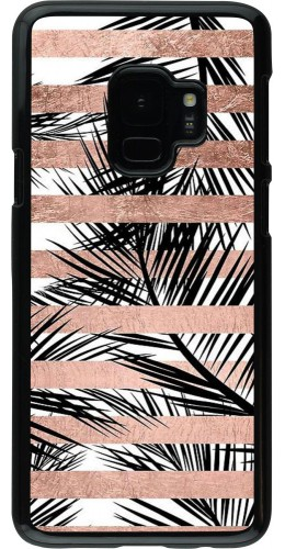Coque Samsung Galaxy S9 - Palm trees gold stripes
