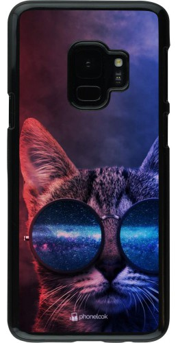 Coque Samsung Galaxy S9 - Red Blue Cat Glasses