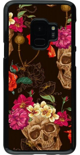 Coque Samsung Galaxy S9 - Skulls and flowers