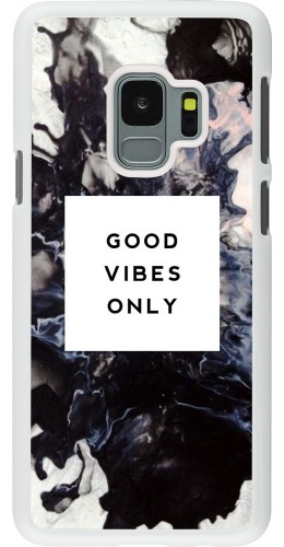 Coque Samsung Galaxy S9 - Plastique blanc Marble Good Vibes Only