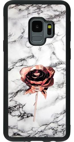 Coque Samsung Galaxy S9 - Silicone rigide noir Marble Rose Gold