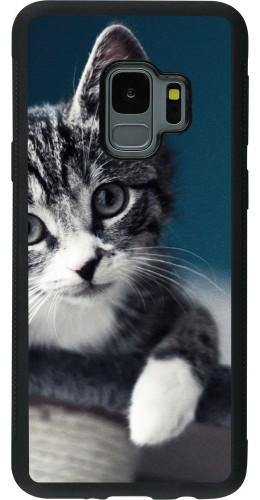 Coque Galaxy S9 - Silicone rigide noir Meow 23