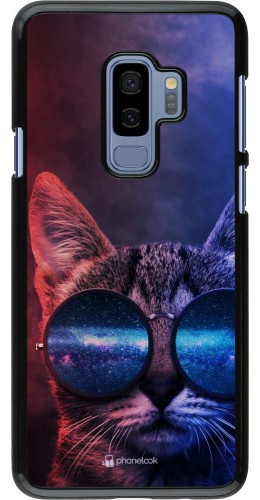 Coque Samsung Galaxy S9+ - Red Blue Cat Glasses