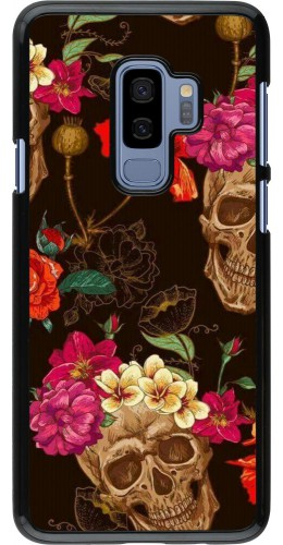 Coque Samsung Galaxy S9+ - Skulls and flowers