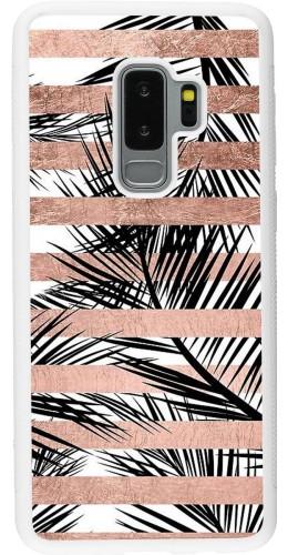 Coque Samsung Galaxy S9+ - Silicone rigide blanc Palm trees gold stripes
