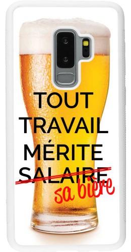 Coque Samsung Galaxy S9+ - Silicone rigide blanc Tout travail mérite sa bière