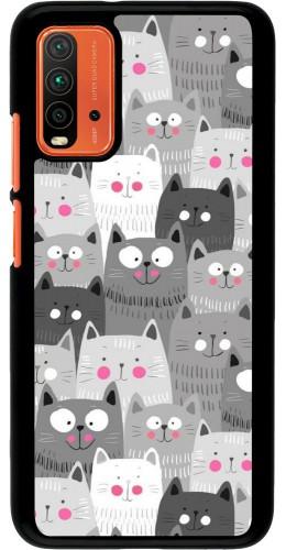 Coque Xiaomi Redmi 9T - Chats gris troupeau