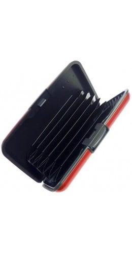 Porte cartes aluminium rouge