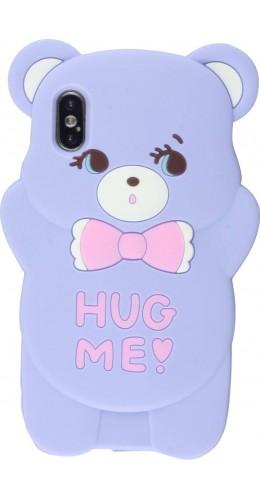 Coque iPhone X / Xs - 3D Fun Bear Hug me violet