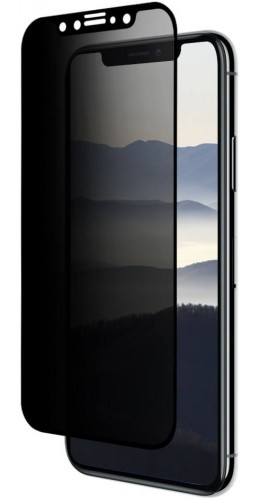 3D Tempered Glass vitre de protection noir Privacy - iPhone X / Xs