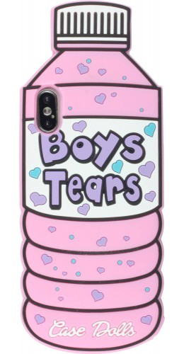 Coque iPhone X / Xs - 3D Fun Bouteille boys tears rose