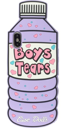 Coque iPhone X / Xs - 3D Fun Bouteille boys tears violet