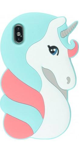Coque iPhone X / Xs - 3D Fun Pretty licorne bleu