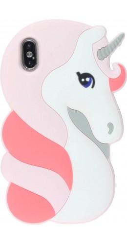 Coque iPhone X / Xs - 3D Fun Pretty licorne rose clair