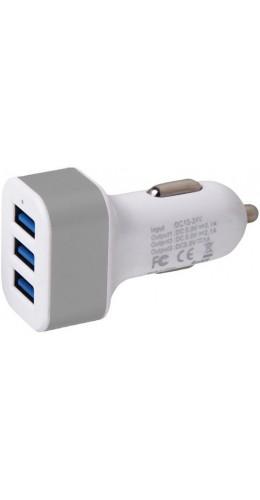 Adaptateur triple USB allume-cigare argent