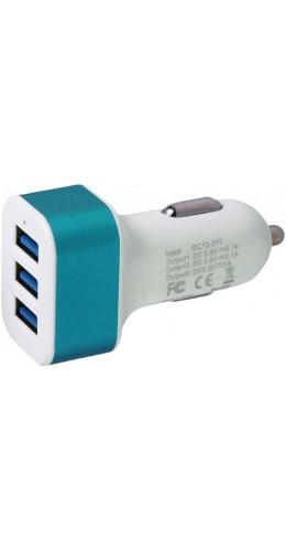 Adaptateur triple USB allume-cigare bleu